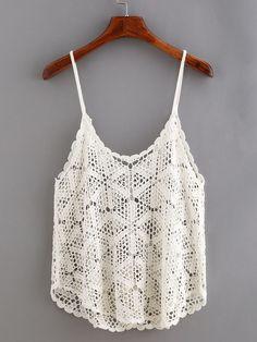 Diy Crafts - Buttoned Front Hollow Out Crochet Cami Top Crochet Cami Tops, Crochet Blouse, Lace Tops, Mode Crochet, Diy Crochet, Crochet Top, Crochet Bodies, Baby Dress Tutorials, Crochet Summer Dresses