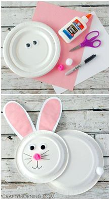Paper Plate Bunny Rabbit- Cute Easter craft for kids to make! Paper Plate Bunny Rabbit- Cute Easter craft for kids to make! Easter Arts And Crafts, Easter Projects, Daycare Crafts, Crafts For Kids To Make, Easter Crafts For Kids, Spring Crafts, Toddler Crafts, Preschool Crafts, Holiday Crafts