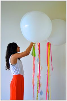 Camille Styles Balloons Colorful DIY Streamers party decor portrait - camille styles events attached to pews Diy Birthday Decorations, Balloon Decorations Party, Homemade Party Decorations, Picnic Decorations, Balloon Ideas, Big Balloons, White Balloons, Round Balloons, Balloon Ribbon