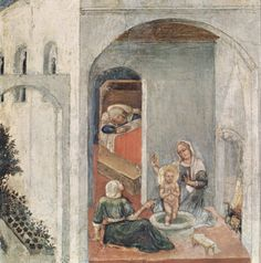 Gentile da Fabriano, Birth of St. Nicholas, 1425, part of the Predella from the Quaratesi Polyptych. Pinacoteca Vaticana, Rome. 2,024×2,044 pixels