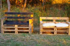 2. pallet benches  Same idea as 1. Don't need to be high backed, just average couch back height.