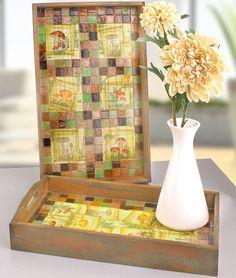 """©efco-freizeit-engel.de - Holztablett mit Mosaix- und Serviettentechnik (Idee mit Anleitung – Klick auf """"Besuchen"""")"""