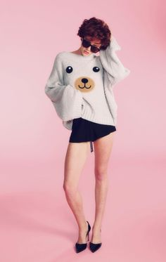 The Wildfox White Label Barbie Dreamhouse Teddy Girl Chunky Oversized Sweater