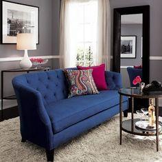 Decorando la casa con azul marino hola chicas el azul for Sala gris con azul