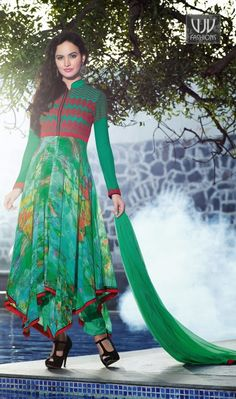 New Lovely Green Printed Anarkali Casual Salwar Suit New lovely green georgette anarkali casual salwar suit with printed, resham, lace and patch border work.