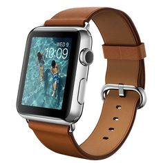 Apple Watch - 42mm Stainless Steel Case with Saddle Brown Classic Buckle - Apple