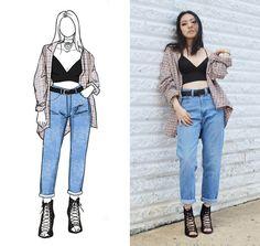 Yona L - Ralph Lauren Flannel, American Apparel Bralette, Yoki Lace Up Heels - Bralette and Mom Jeans