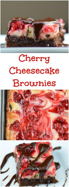 Cherry Cheesecake Brownies include a chocolate fudge brownie layer, topped with creamy cheesecake with cherries swirled through the cheesecake. Then it is drizzled with chocolate ganache over the top.  It is an easy yet impressive dessert.