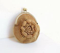 Money for Romance Wallet Pouch Crocheted Bamboo Purse #crochet bag #crochet purse