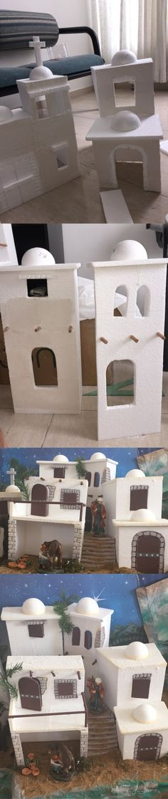 Casas para pesebre Belén Christmas Village Display, Christmas Nativity Scene, Christmas Villages, Nativity Scenes, Christmas Projects, Christmas Crafts, Christmas Decorations, Christmas Ornaments, Felt Ornaments