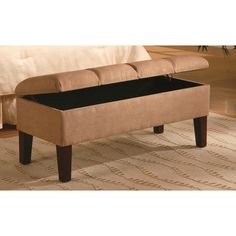 Microfiber Bedroom Bench with Storage and Wood Feet in Brown