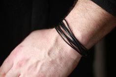 Mens leather Bracelet  Mens black leather Bracelet  Tan by Bijjou, $18.00