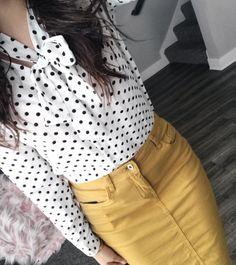 Polka dot Top + Mustard Denim Skirt