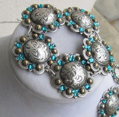 Diamond B Jewelry - Concho Bracelets with Crystals Antique & Gold with Teal Swarovski Crystals $45