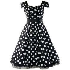 50's Vintage Tea Prom Dress Big Polka Dot Black & White