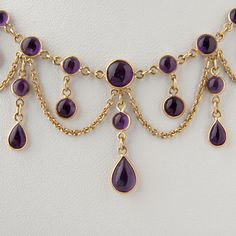 Antique Victorian Style Gold Cabochon Amethyst Necklace