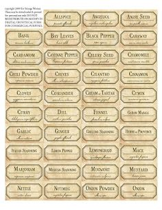 DIY Spice Jar Labels - over 90 ancient labels for spice & botanical herb jars to spice up your kitchen ~ for free!