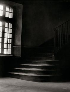 "Stair Noir, Circa 1925. ""Stairway in the old Ursuline convent, New Orleans."" 4x5 nitrate negative by Arnold Genthe. - View full size. >>>>>> http://www.shorpy.com/files/images/SHORPY_7a03103a.jpg"
