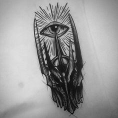 Sauron. (dispo tattoo)  #blackworkers_tattoo #blackwork #blackworkers #blackworkerssubmission #darkart #darkartists #onlyblackart #onlythedarkest #flashtattoo #flashworkers #flashaddicted #sauron #mordor #lotr #lotrtattoo #thelordoftherings