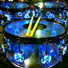 Just flat out cool- blue lights drums - http://www.pinterest.com/DianaDeeOsborne/drums-drumming-joy/