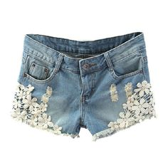 Washed Denim Shorts with Crochet Lace Flower Details ($18) ❤ liked on Polyvore featuring shorts, chicnova, bottoms, pants, cuffed denim shorts, destroyed shorts, distressed denim shorts, distressed shorts and ripped shorts