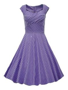 Shop Purple Sweetheart Polka Dot Cap Sleeve Ruched High Waist Midi Dress from choies.com .Free shipping Worldwide.$30.59