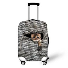 Horeset Luggage Cover Spandex Travel Cartoon Cute Suitcase Protector Fits 18-30 Inch Washable Anti-Scratch Stretchy Travel Carry On Washable 2