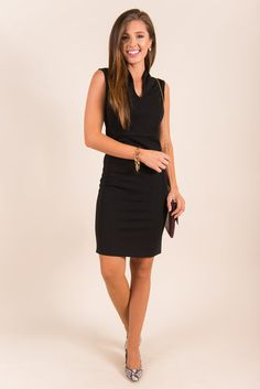 This dress is wonderfully stylish and chic! It's perfect for any even where you need to look amazing and classy! You really can't wrong with LBD! It's so sleek and well fitting! Material has fair amount of stretch. Chelsea is wearing the small.