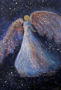 ACEO-Original-Angel-Painting-Spiritual-Inspirational-Healing-Energy-CCArtist Types Of Angels, Castle Silhouette, Entertaining Angels, Angel Artwork, Angel Drawing, I Believe In Angels, Prophetic Art, Angels Among Us, Jesus Art