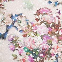 Beige Multicolor Tropical Floral Lace w/ Finished Edges