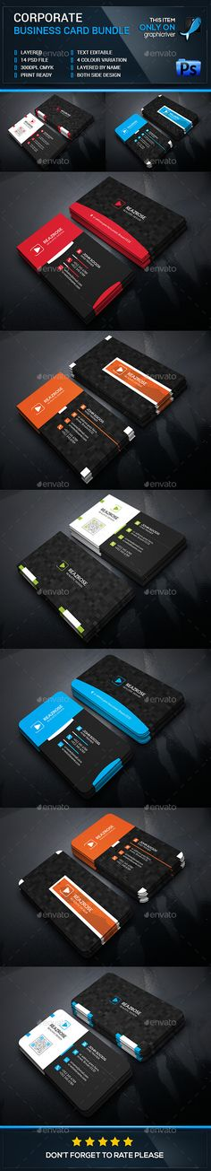 Business Card Bundle Tempalte #design Download: http://graphicriver.net/item/business-card-bundle/12927855?ref=ksioks