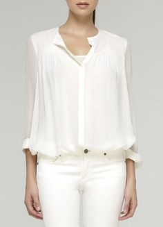 Vince-SIlk Chiffon Placket White Shirt