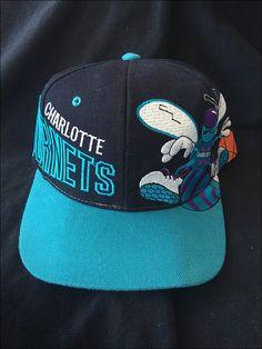 6255ed773c2cf Vintage Deadstock 90 s NBA Charlotte Hornets NBA All Over Snapback Hat