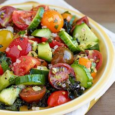 Persian Cucumber & Tomato Salad with Preserved Lemon | n this cucumber and tomato salad recipe, preserved lemon adds a tangy, salty bite. Serve this healthy salad as an accompaniment to dishes like grilled lamb or chicken or as a side on a bed of finely julienned purple kale, lightly dressed with more olive oil and lemon juice.