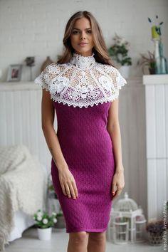 """Купить Платье """"Рококо"""" - вязаное платье, ажурное платье, платье с воротником, ирландское кружево"""