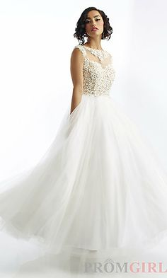 Cinderella!! Floor Length Riva Dress with High Neck at PromGirl.com