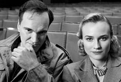 Diane Kruger and Quentin Tarantino on the set of Inglourious Basterds.