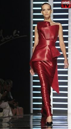 sleeveless red leather evening gown, Italian designer Fausto Sarli