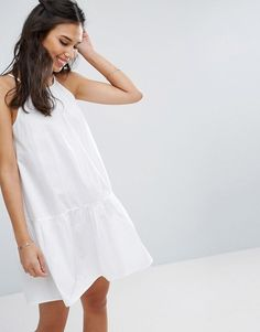 bbad38df1a ASOS Drop Waist Sundress in Cotton - White Day Dresses