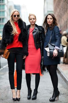 It's all about the contrast of black fur and leather with pink and red.