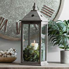 Morgan Gray Wooden Lantern | Kirklands