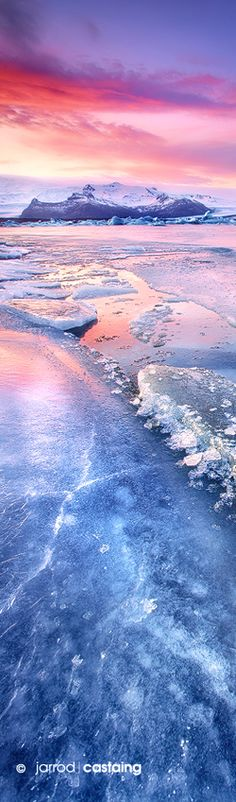 "~~Sunset over Jokulsarlon Glacier Lagoon, South Coast, Iceland... ""Thin Ice"" by Jarrod Castaing Fine Art Photography~~"