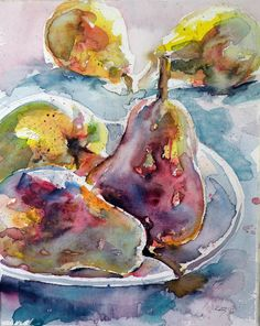 ARTFINDER: Still life with pears by Kovács Anna Brigitta - Original watercolour painting on high quality watercolour paper. I love landscapes, still life, nature and wildlife, lights and shadows, colorful sight. Watercolor Fruit, Fruit Painting, Watercolor Artists, Watercolor Techniques, Watercolor Landscape, Abstract Watercolor, Watercolour Painting, Watercolor Flowers, Painting & Drawing