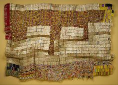Between Earth and Heaven  El Anatsui  (Ghanaian, born Anyako, 1944).  This is simply amazing - to appreciate, you must go to the Met site, and click to see closeups.  The detail, the work involved, is incredible.