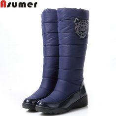 Asumer 2017 bawełna mody wodoodporne buty śniegowe kobiet kolana wysokie buty płaskie buty zimowe futra platformy buty damskie rozmiar 34-44