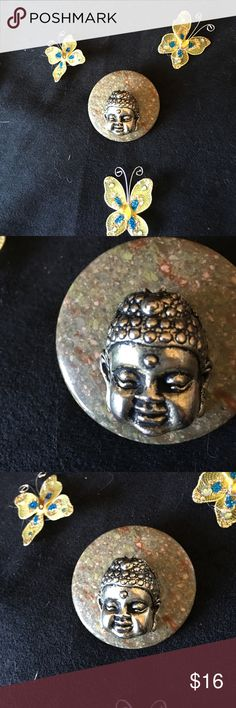 Beautiful Buddha Brooch Pretty Buddha head on a natural stone base. This is a one of a kind piece. Jewelry Brooches
