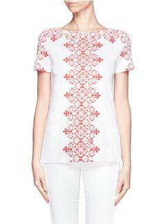 TORY BURCH Aberra cross-stitch embroidery print short sleeve T-shirt Weekend Dresses, Brands Online, Printed Shorts, Cross Stitch Embroidery, Branding Design, Tory Burch, Dressing, Tunic Tops, My Style