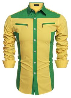 Men's Clothing, Shirts, Casual Button-Down Shirts,Men's Fashion Slim Fit Long Sleeve Patchwork Casual Shirts - Yellow - # # Mens Fashion Blazer, Men's Fashion, Fashion Shirts, Fasion, Kurta Pajama Men, African Shirts For Men, Shirt Collar Styles, Men's Shirts And Tops, Slim Fit Casual Shirts