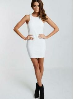 #White #Sleeveless #Racerback #Dress #FauxLeather #Chic #Modern #Sexy #Bold #Style #UsTrendy