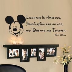"Laughter is timeless, imagination has no age... Tinkerball Quote Vinyl Wall Decal Walt Disney Sticker(Black, 8""h x22""w)"